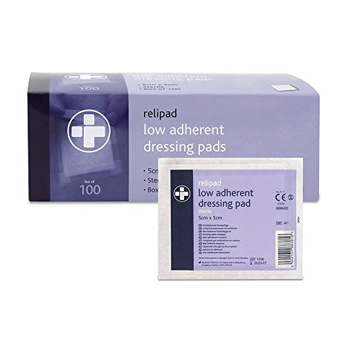 Reliance Medical steril Relipad Wundkompresse niedrig sich Dressing Pads, 5cm Länge x 5cm Breite Box von 100