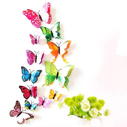 20 Stück Halloween Schmetterling Wandtattoo Wandsticker Wandaufkleber DIY Wanddeko für Wohnzimmer Schlafzimmer Kinderzimmer TV Kunst Wand Hintergrund Deko designen (Pink)