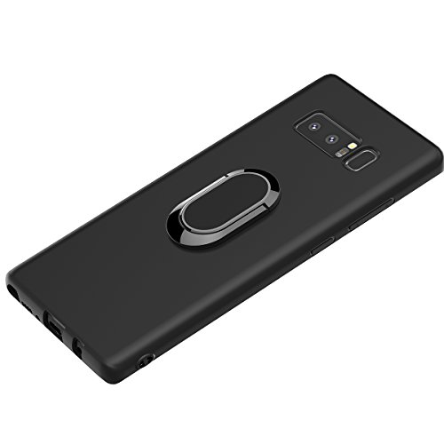 WATACHE Galaxy Note 8 Case, Built-in Magnetic Iron 360 Degree Rotating Ring Holder Kickstand Thin Slim Fit Premium TPU Shockproof Protective Case Cover for Samsung Galaxy Note 8(Black)