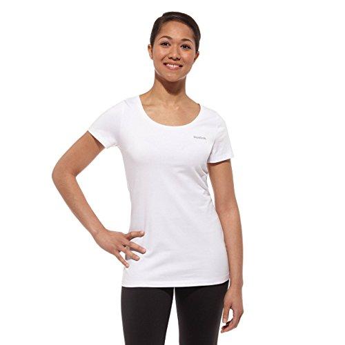 Reebok Elements Crew Slim - Camiseta para Mujer Blanco Blanco Talla:Extra-Large