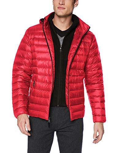 Calvin Klein Men's Packable Down Hoody Jacket, True Red, Medium