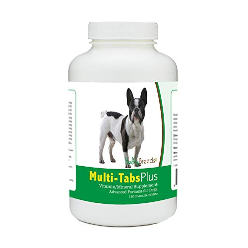 Healthy Breeds Dog Multi-Tab and Mineral Supplement Chewable Tabs for French Bulldog - Over 80 Breeds – 180, 365 Chews – Formula for Young or Senior Pets – Easier Than Liquid, Powder