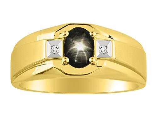 Rylos - Männer Klassischer schwarzer Sternsaphir & Diamantring