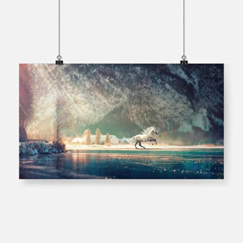 GZSBYJSWZ Impresión en HD Caballo Blanco Paisaje Animal Cartel Lienzo Pintura Pared Arte decoración Sala de Estar Dormitorio Estudio decoración del hogar Regalo sin marco-50x90cm