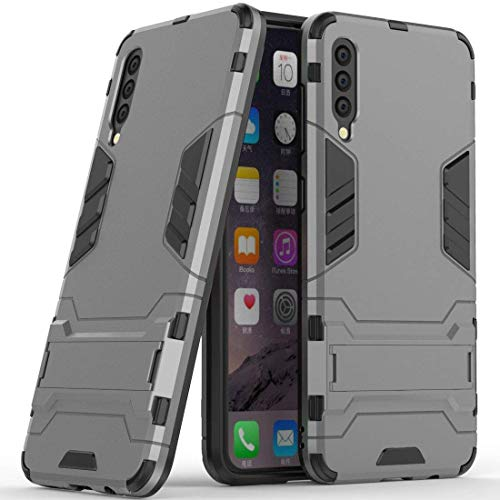 Hoesje voor Samsung Galaxy A50 (6,4 inch Scherm) 2 in 1 Hybrid Rugged Schokbestendige Back Cover met Kickstand Hoes (Grijs)