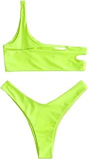 Women's One Shoulder Bikini Set Cutout High Cut Swimsuit Bralette Bathing Suit