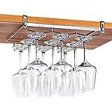 ワイングラスホルダー 吊り下げ 穴あけ不要 差し込み グラスホルダー キッチン収納 棚厚さ調整可能 ステンレス製 簡単に取り付け 3レーン