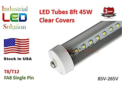 Pack of 25 LED 8 Foot Tube Light Bulb, 6000K (Cool White), Clear Cover with FA8 Single Pin, T8/T10/T12, 85V-265V AC, 45W - 4800 Lumens (75W Fluorescent Equivalent)
