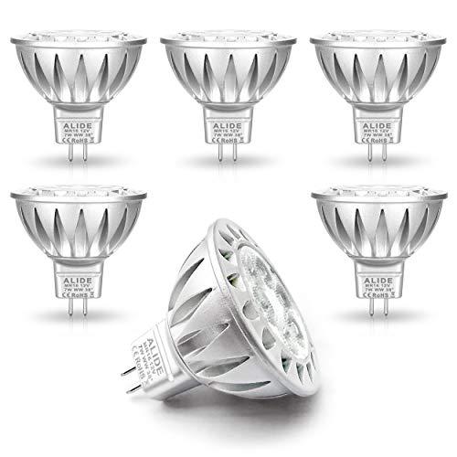 ALIDE MR16 7W GU5.3 Led Bulbs Replace 50W-75W Halogen Equivalent,2700K Warm White,12V Low Voltage MR16 Bulb Spotlight for Outdoor Landscape Flood Track Recessed Lighting,560lm,38 Deg,6 Pack