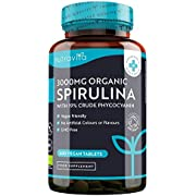 Organic Spirulina 500mg (3000mg per Serving) with 19% Crude Phycocyanin - 600 Vegan Tablets - Certified Organic Blue Green Algae by Soil Association - Made in The UK by Nutravita