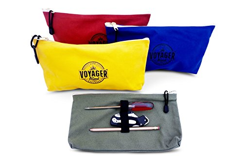 Canvas Zipper Bag (Set of 4) Heavy Duty Tool Pouch Tote Bags, Color Coded with Carabiner Clip, Metal Zipper and Elastic Organizer