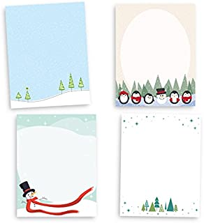 Adorable Holiday Stationary Collection - 80 Sheets - 4 Cute Christmas/Winter Designs