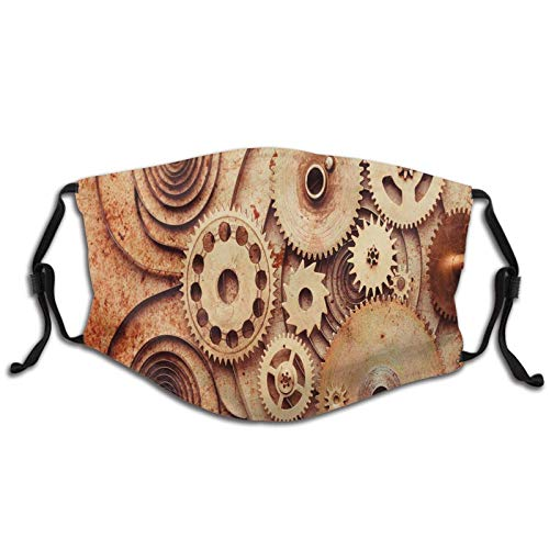 Polyester Washable Face Covers,Best Pattern Design,Outdoor Mouth Cover Dust Bandana,for Adults Clocks Details Old Rusty