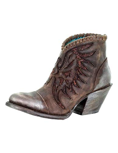 Corral Ld Brown Woven & Overlay Ankle Boot ,Size 10.5