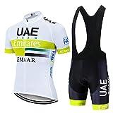 AJL Maillot de Ciclismo de Verano de Manga Corta para Hombre UAE Team Amarillo,Pro Road Mountain Bike Racing Club Maillot de Ciclismo al Aire Libre,Conjunto de Ciclo compresión Secado rápido