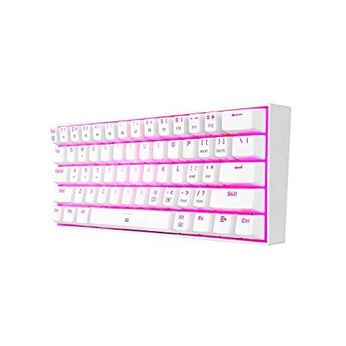 Redragon K630 Dragonborn Bianco - Tastiera meccanica da gaming 60% - Compatta - 61 tasti - Tastiera Gamer TKL per giochi - Interruttori marroni - Illuminazione rosa