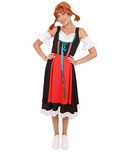 Halloween Party Online HPO Oktoberfest Fraulein Dirndl Costume, Red & Black HC-069