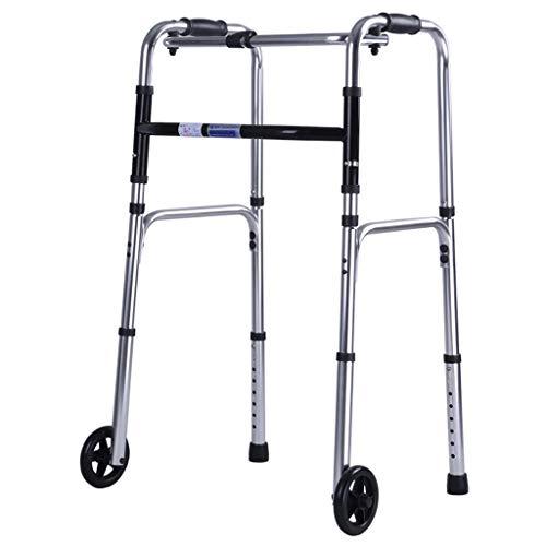 Caminantes para personas mayores Marco para caminar, caminante Plegable Deluxe 2 Botón con las ruedas delanteras 4 ', marco de aleación de aluminio, altura ajustable (corta, estándar, altas personas),