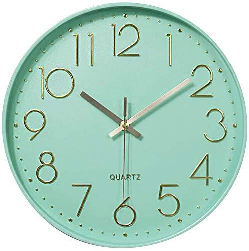 Taodyans - Reloj de pared silencioso de 12 pulgadas, reloj de cocina, de cuarzo, funciona con pilas, reloj moderno para decoración del hogar, oficina, clase, sala de estar, dormitorios (verde menta