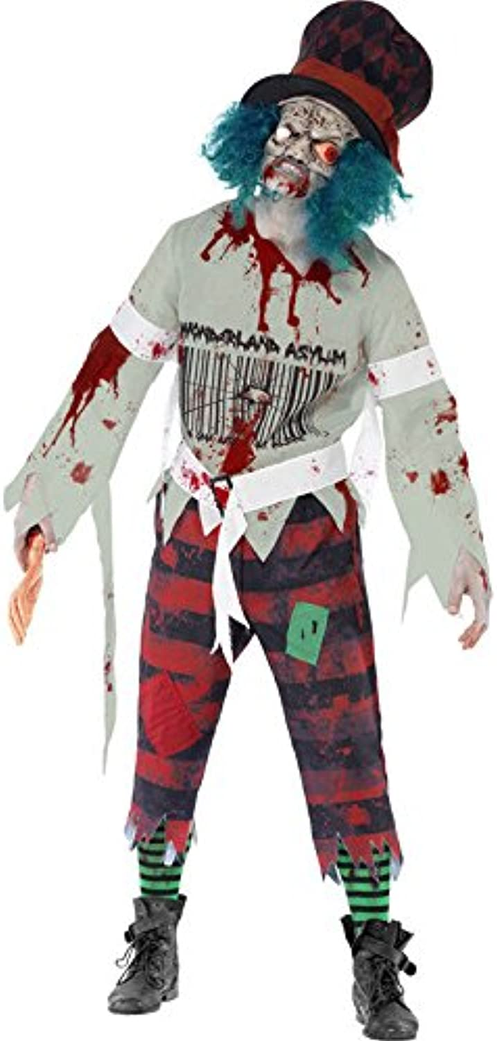 Mad Zombie Hatter Halloween Costume red black grey