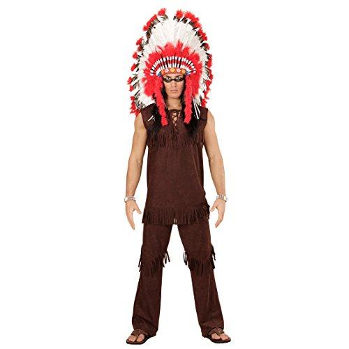 NET TOYS Disfraz Indio - L (ES 52) | Traje Hombre Cacique | Disfraz Jefe de Tribu | Fiesta Temtica Oeste Salvaje