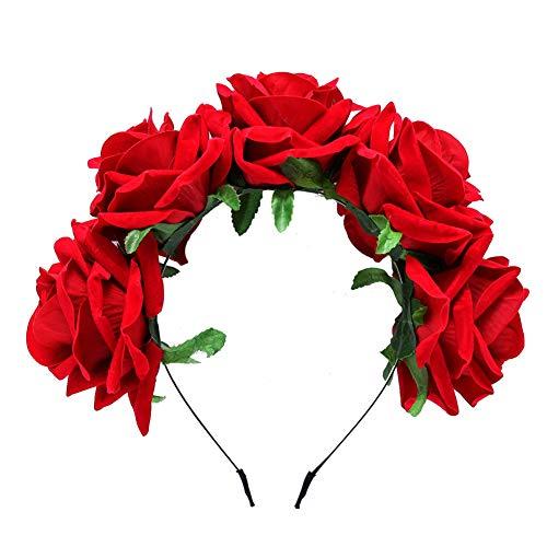 Gysad Diademas mujer Forma de rosa Diademas de flores Hermosa y encantadora Diademas mujer fiesta Diseño retro Banda de pelo mujer
