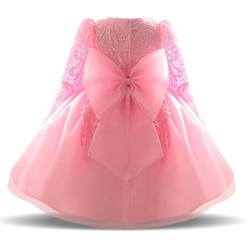 TTYAOVO Baby Mädchen Bestickt Tüll Blume Prinzessin Brautjungfer Hochzeit Geburtstag Party mit 3/4 Ärmeln Kleid 6-12 Monate(Größe70) 02 Rosa