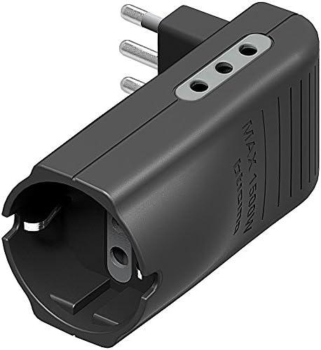 BTicino S3615GE - Adaptador en ángulo para ahorrar espacio, con 2 tomas de 10 A, 1 toma schuko de tipo P30 y enchufe de 10 A, de color antracita, ...