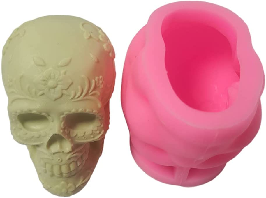 SANGHAI Flower Skull 3D sold out Candle El Paso Mall Mold DIY Epoxy Soap Mould