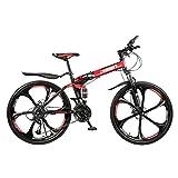 Lomsarsh Vélo de Montagne, vélo Pliant, vélo Portable, vélo de Route pour étudiant Adulte, vélo de Plein air, vélo de Montagne Pliant de 26 Pouces,VTT - 21 Vitesses