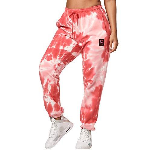 Zumba Fitness Pantalones Mujer Deportivos Transpirables de Entrenamiento de Baile, Ruby Dye, L