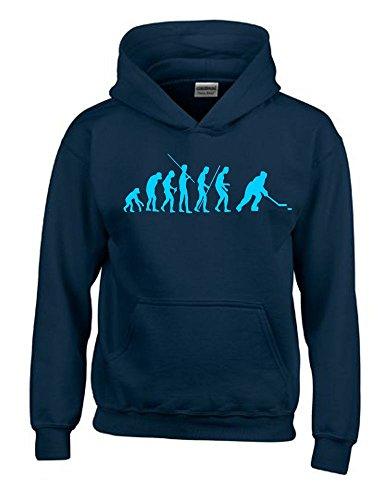 Coole-Fun-T-Shirts Eishockey Evolution Kinder Sweatshirt mit Kapuze Hoodie Navy-Sky, Gr.164cm