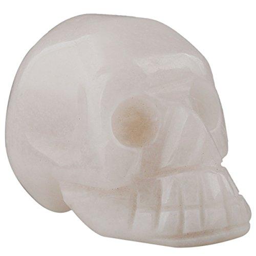 Rockcloud Healing Crystal Stone Human Reiki Skull Figurine Statue Sculptures White Jade 1.5'