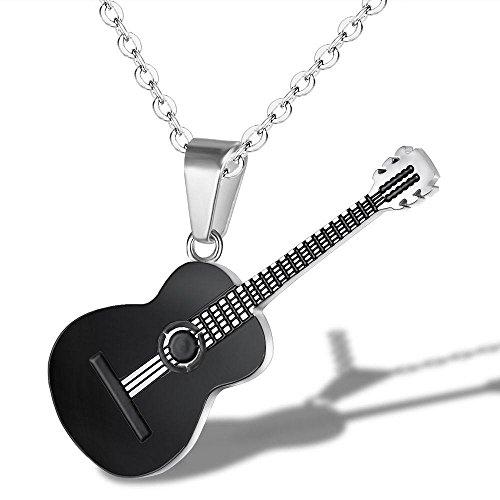 YAZILIND Titanium Steel Chain Necklace Classical Music Guitar Pendant Necklace for Men Women(Black)