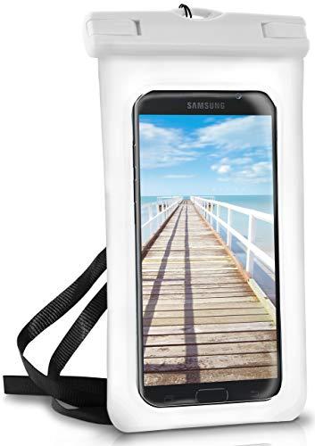 ONEFLOW® wasserdichte Handy-Hülle für Samsung A + J Reihe | Touch- & Kamera-Fenster + Armband und Schlaufe zum Umhängen, Weiß (Pear-White)