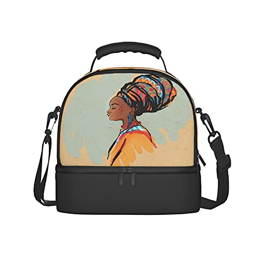 Insulated Lunch Bag Women Reusable Tote Bag Watercolor Profile Portrait Of Native Woman With Ethnic Hairdo And Earrings Theme Theme Lunch Box for Men