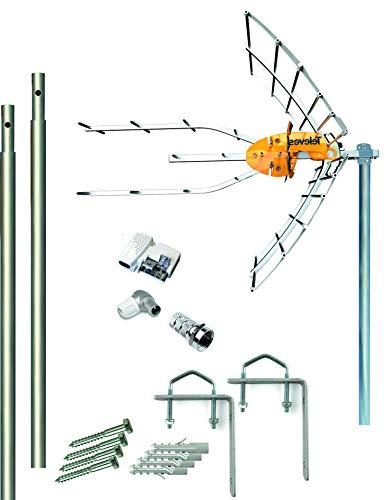 Kit Antena Televes 5G + Fuente 24V + 2 Mástiles 1.5m + Garras + Conexiones