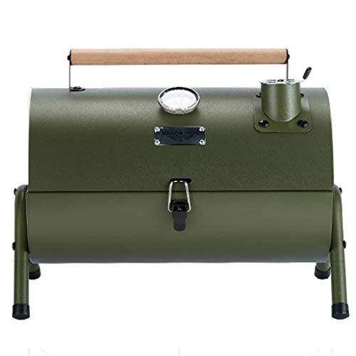 AOCT SHOP-Grill Draagbare Picknick Bbq, Houtskool Bbq Koken, Verchroomd Koken Grid Kleine koffer Stijl Camping Tuin Buiten - Leger Groen