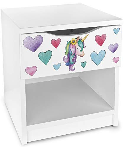Leomark comodino moderno in legno con cassetto e scompartimento apertoin, comodino per bambini, colore bianco con motivo UNICORNO, dimensioni: 40cm x 38cm x 42cm (LxWxH)