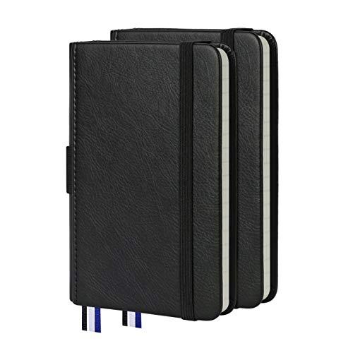 Confezione da 2 piccoli quaderni a righe, con copertina rigida in pelle, 100 g/m² (nero, a righe)