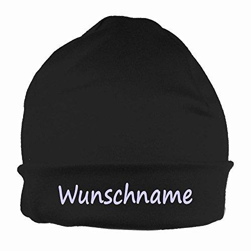 Mütze uni schwarz mit Namen oder Text personalisiert für Baby oder Kind aus 100% Baumwolle mit UV-Schutz