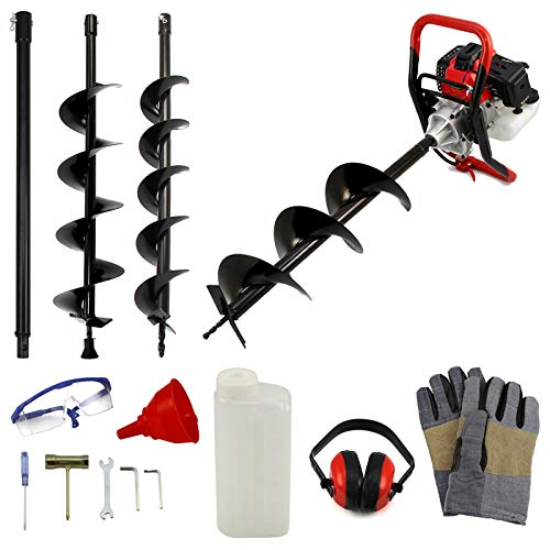 Iropro 52cc 2Stroke Petrol Earth Auger Drill Garden Earth Borer Post Hole Digger Borer, Post Hole Borer for Planting Trees Fence, 3 Drill Bits, 3HP 9000 RPM 1.2L, Petrol Earth Auger with 4'6' 8'drill
