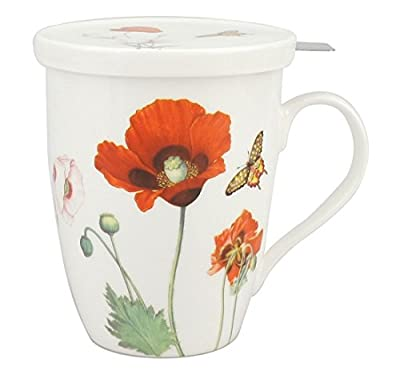 McIntosh Poppies Fine Bone China (15 oz) Tea Mug With Infuser and Lid in Matching Gift Box
