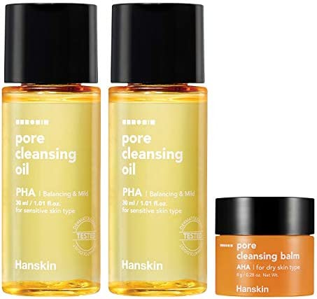 Hanskin PHA Pore Cleansing Oil and AHA Cleansing Balm Sample Trial Size Travel Size Mini Makeup product image