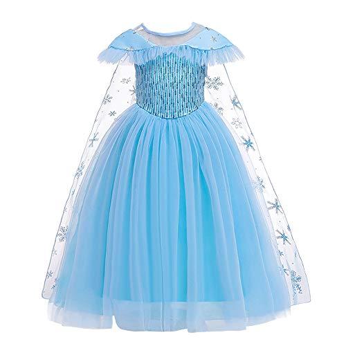 Lito Angels Déguisement Robe de Princesse Elsa Reine des Neiges pour Fille Enfant, Anniversaire Fete Carnaval Costume, Taille 4-5 ans (étiquette en tissu 120), Bleu