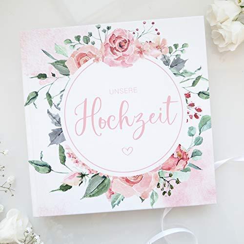 Gästebuch zur Hochzeit mit Fragen   Rose Watercolor