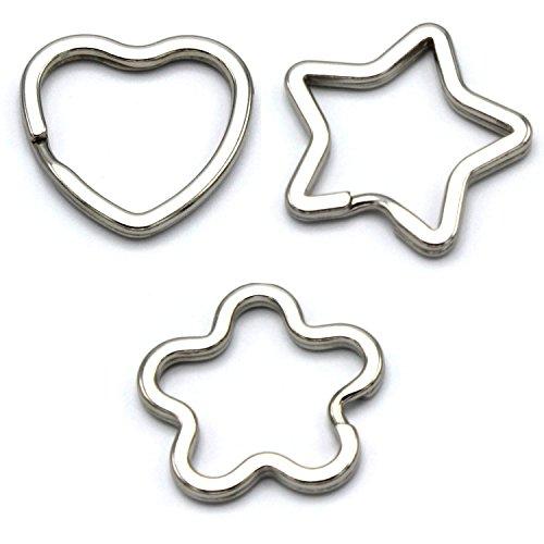 mai® Schlüsselringe Stern, Blume und Herz - 15 Stück gemischt, glanzvernickelt