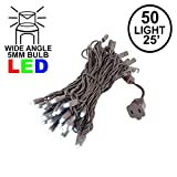 Novelty Lights 50 Light LED Christmas Mini Light Set, Outdoor Lighting Party Patio String Lights, Pure White, Brown Wire, 25 Feet
