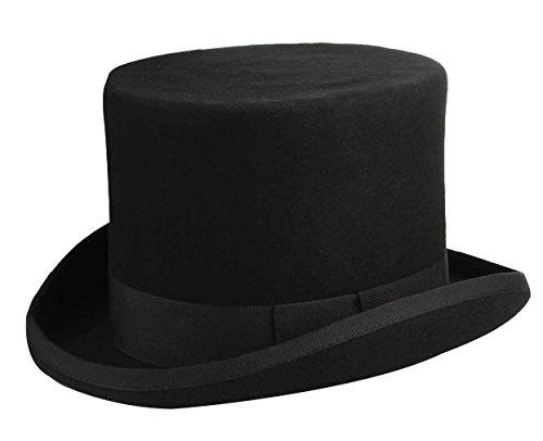 DEMU Zylinder Filzhut Wollfilzhut Hochzeitshut Topper Verkleiden Hut Fasching Party Karneval Schwarz Hut Umfang 57cm