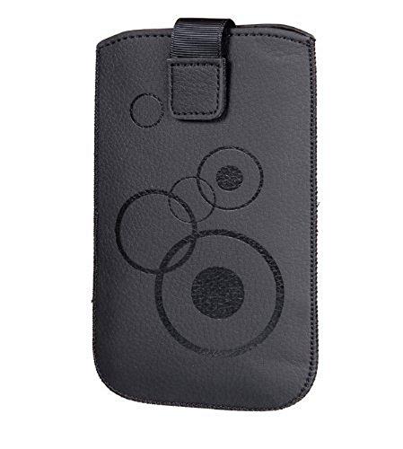 Handytasche Circle schwarz passend für Alcatel One Touch POP Star Dual Sim (5022D) Handy Schutz Hülle Slim Hülle Cover Etui schwarz mit Klettverschluss